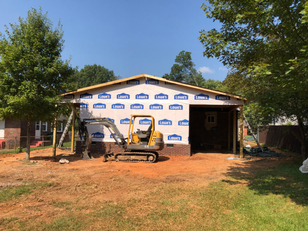 South Charlotte Contractor for Home Addition with Roof and Siding almost completed