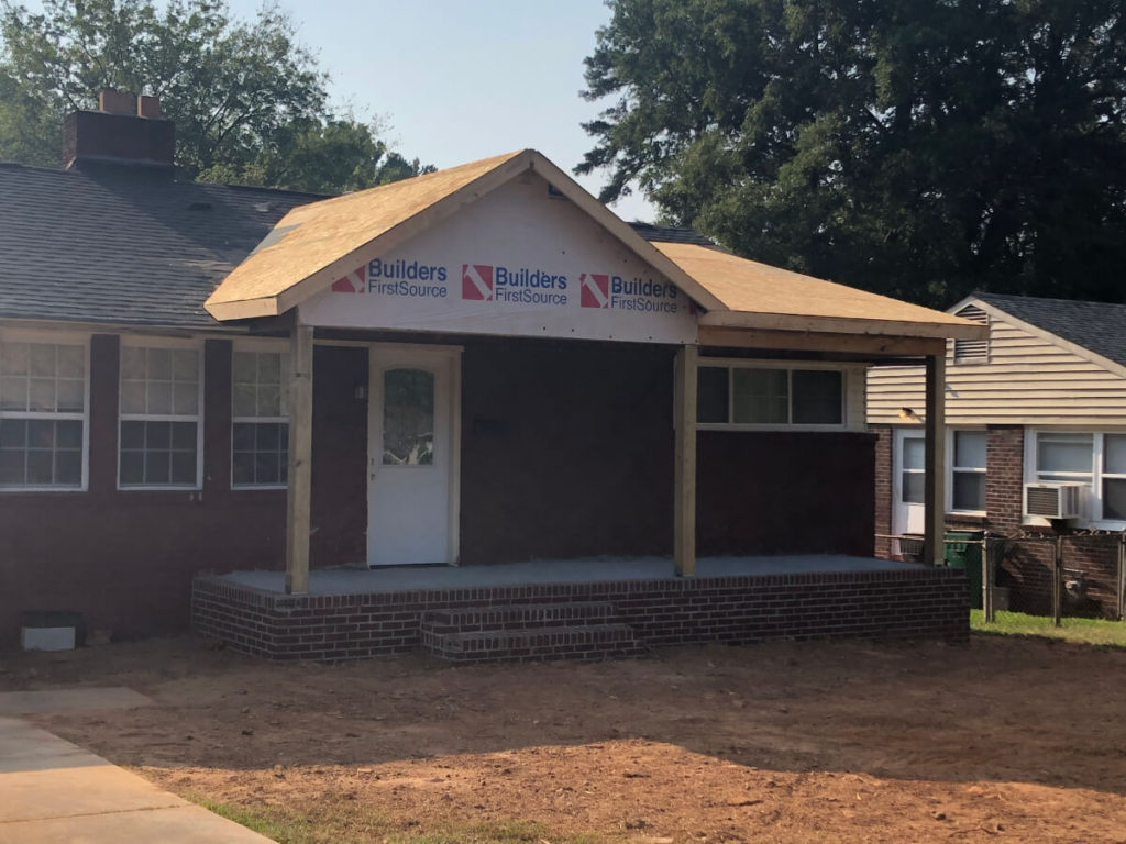 South Charlotte Remodel Contractor for Addition with Porch almost complete