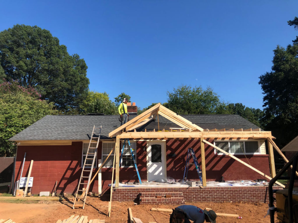 South Charlotte Remodel Contractor for Addition with Porch frame